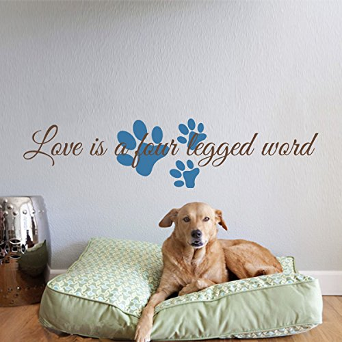 [Love is a four-legged word - Pet Wall Decals - Dog Wall Decal - Cat Wall Vinyl Wall Decor (Large,] (Animals That Start With The Letter M)