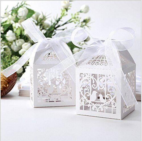 Saitec 50 Pack White Love Birds Laser Cut Favor Candy Box Bomboniere with Ribbons Bridal Shower Wedding Party Favors/ Love Heart and bird Laser Cut Candy Gift Boxes With Ribbon Wedding Party Favor Creative Favor Bags/ Laser Cut birds Wedding Favor Box Birthday Shower Party Candy Boxes Bomboniere (Love Birds Paper Ribbon)