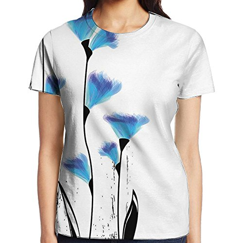 WuLion Vector Flowers Turkish Ottoman Tulips in Ombre Watercolored Women's 3D Print T Shirt XL White