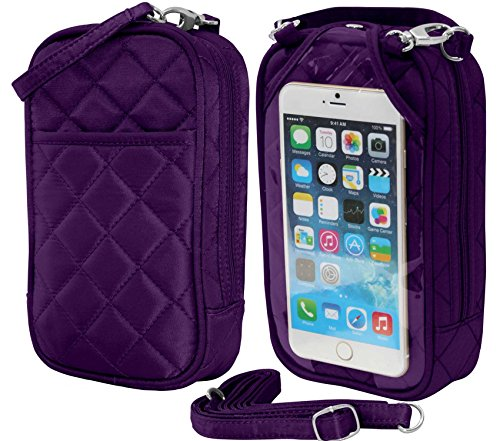 Crossbody Bag-Cell Phone Purse- Grape Quilt- Fits all phones-by Charm14