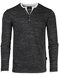 Men's Long Sleeve Double Layered Y-Neck Fashion Henley