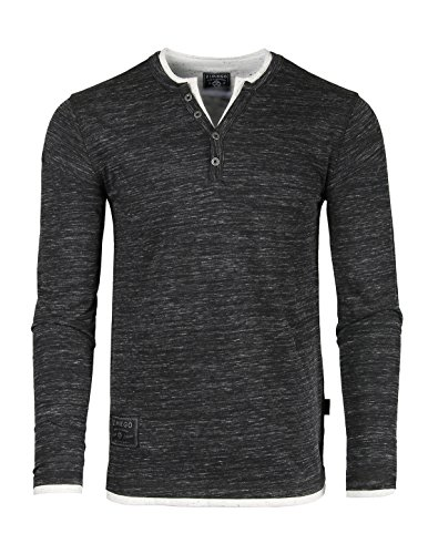 Double Placket (ZIMEGO Men's Long Sleeve Double Layered Y-Neck Fashion Henley)