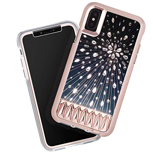 Case-Mate - iPhone Xs Case + Glass Screen Protector Bundle - Luminescent - Light Up Crystals - iPhone 5.8 - Luminescent