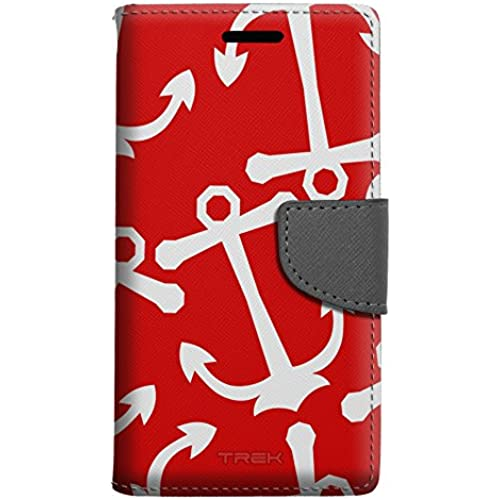 Samsung Galaxy S7 Edge Wallet Case - Anchors White on Red Case Sales