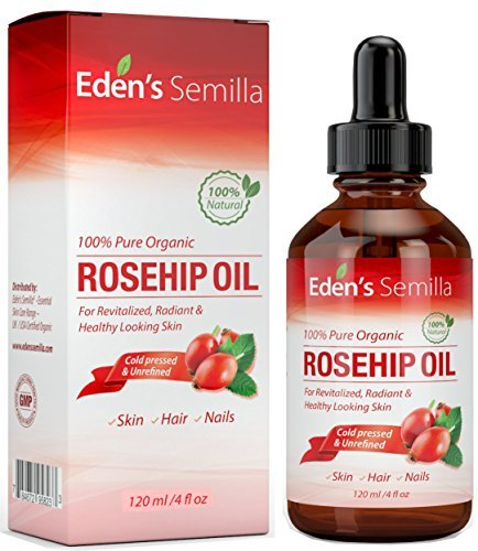 100% Pure Rosehip Oil - 4 OZ - Certified ORGANIC - Cold pressed & unrefined - NON Greasy HIGH absorbency - Use daily - Anti ageing, nourishes, hydrates and visibly reduces fine lines, scars, stretch marks and skin pigmentations - Suitable for all skin typ