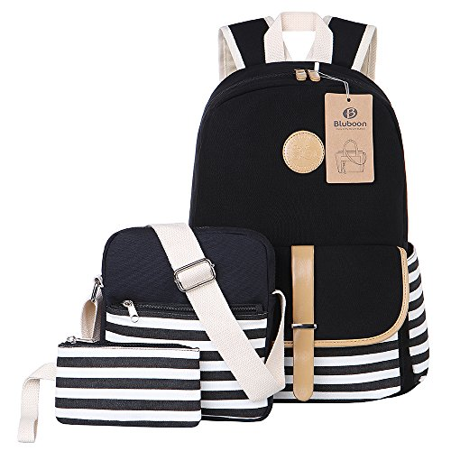 BLUBOON Teens Canvas Backpack Girls School Bags Set, Bookbags + Shoulder bag + Pouch 3 in 1