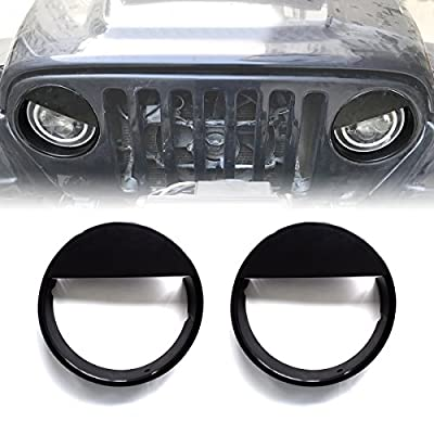 ICARS Black Angry Bird Head Light Guards Covers Headlight Trim Cover Bezels Pair Kit For 1997-2006 Jeep Wrangler TJ Unlimited Accessories