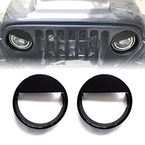 - ICARS Black Angry Bird Head Light Guards Covers Headlight Trim Cover Bezels Pair Kit For 1997-2006 Jeep Wrangler TJ Unlimited Accessories