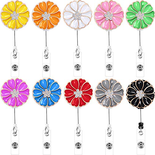Boao Retractable Badge Holder with Alligator Clip, Badge Clips ID Badge Reel Clip on Card Holders, 10 Pieces (Flower and Crystal)