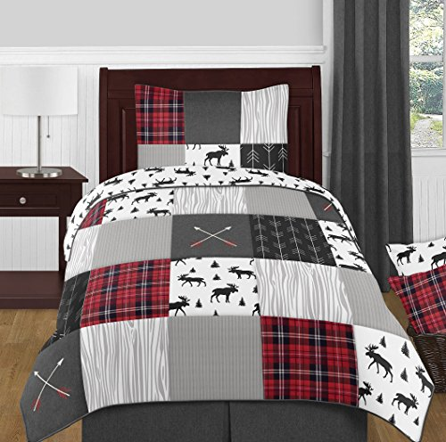 Sweet Jojo Designs Grey, Black and Red Woodland Plaid and Arrow Rustic Patch Boy Twin Kid Childrens Bedding Comforter Set - 4 Pieces - Flannel Moose Gray