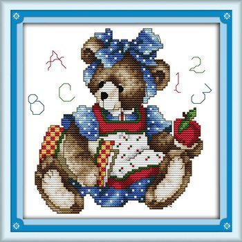 Joy Sunday Cross Stitch kits, September bear,11CT Stamped, 27cm×27 or 10.53×10.53 NKF