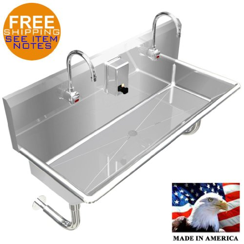 """HAND SINK, ELECTRONIC FAUCET 42"""" 2 PERSON HANDS FREE STAINLESS STEEL HEAVY DUTY"""