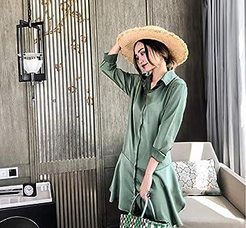 TSNMNB Cinturón de Falda de la Camisa Verde Corbata Floja Vestido ...