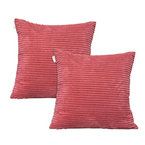 2 Pieces Supersoft Stripe Velvet Corduroy Decorative Throw Toss Pillowcase Cushion Cover for Baby by Natus Weaver , Dark Pink , ( 45 x 45 cm, 18 inch ) 2 packs