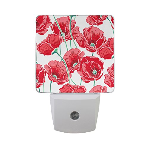Modern Printed Poppies (LEDVIE Red Poppy Plug in Dusk to Dawn Light Sensor LED Night Light Wall Light for Bedroom, Baby's Kids Room,Hallway, Stairs, Energy Efficient)