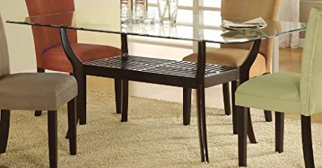 Genial Rectangular Dining Table With Glass Top Cappuccino Finish