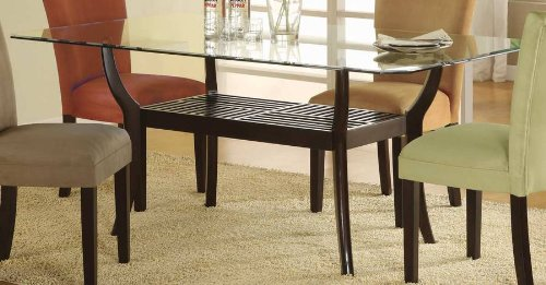 Amazon.com   Rectangular Dining Table With Glass Top Cappuccino Finish    Tables
