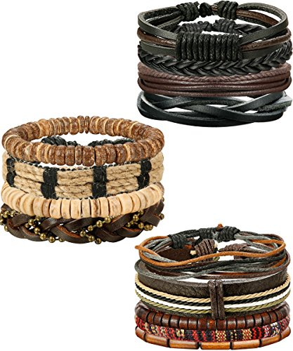 (FIBO STEEL 15-16 Pcs Braided Leather Bracelets for Men Women Woven Cuff Bracelet Adjustable,FS)