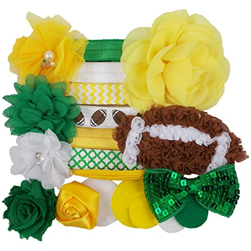 Green Bay Packers - Mini DIY Headband Kit - Makes 7 Headbands - Baby Shower Headband Station - Fashion Headbands for Birthday Party & Baby Shower Games