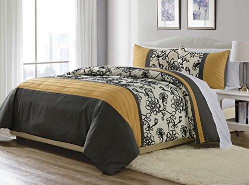 3-Piece Yellow/ Black / White / Grey Fine Embroidered Duvet Cover Set KING SIZE - Brushed Microfiber - Luxury, Ultra Soft and Durable