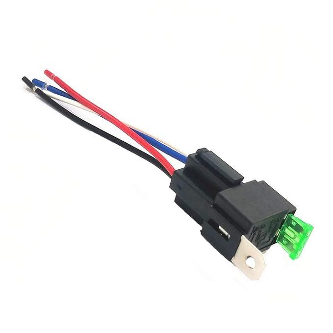 Haitech Juego de arnés de Interruptor de relé de Fusible de 4 Pines 12 V 30 A con Fusible ATO/ATC para automoción: Amazon.es: Electrónica