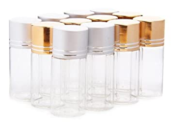 12pcs Sliver +Gold Color 10ml 10G Clear Glass S&ling S&le Bottles Vials Jars Containers Tube  sc 1 st  Amazon.com & Amazon.com : 12pcs Sliver +Gold Color 10ml 10G Clear Glass Sampling ...