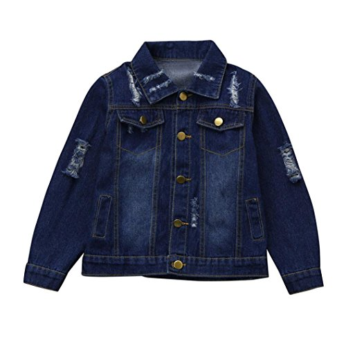 Kehen Children's Place Kids Girls' Hole Denim Classic Trucker Jackets Coat Cowboy Outwear (Dark Blue, 5T)