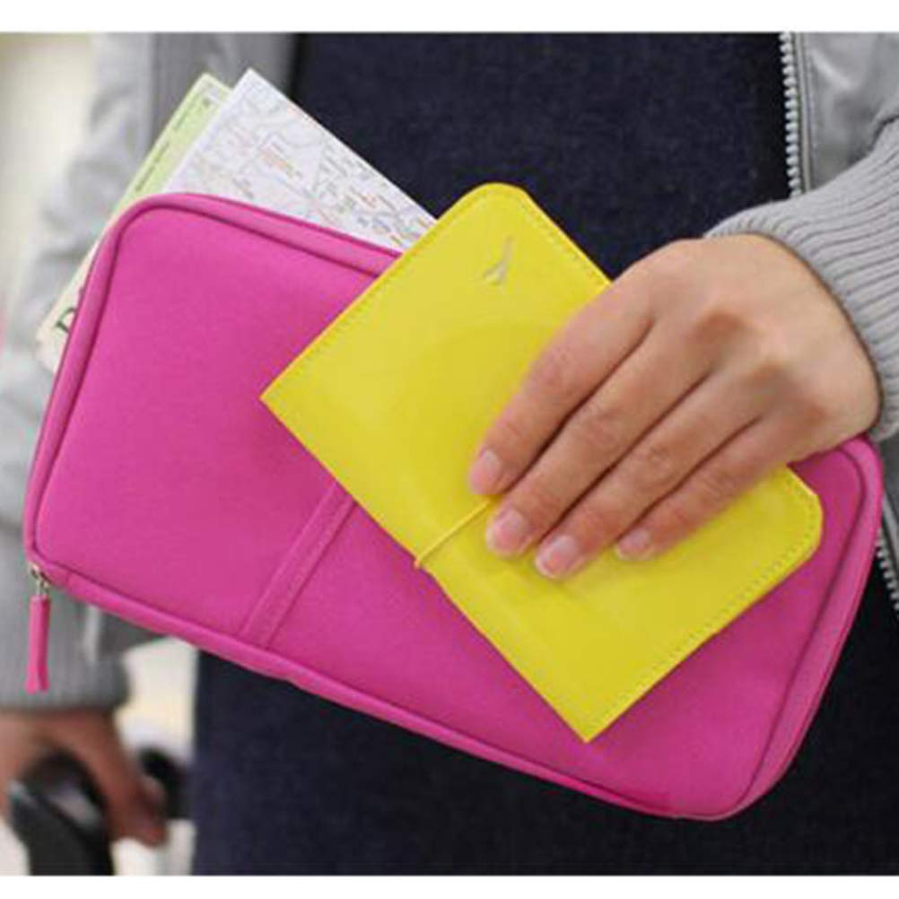 TENDYCOCO Travel Passport Wallet,Multifunction Credit Card Clutch Bag ID Holder Documents Organizer Zipper Case for Men and Women Blue