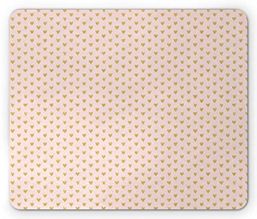 SHAQ Hearts Mouse Pad, Background with Abstract Dainty Passionate Love Theme Valentine, Standard Size Rectangle Non-Slip Rubber Mousepad, Pale Eggshell and Pale Coffee