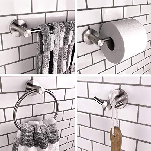 Allew Brushed Nickel Bathroom Hardware Accessories Set/Modern Towel Bar Set Bath Fixtures - Includes 24