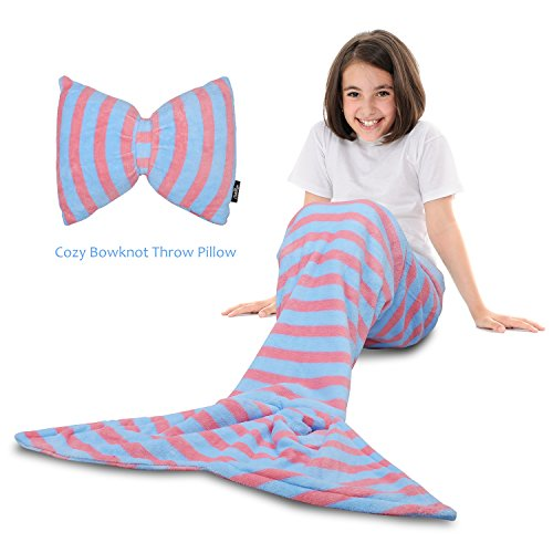 Tirrinia Mermaid Tail Blanket - Super Soft Fannel Fleece Snuggle Sleeping Bag Mermaid Blanket Set Kids Girls Ages 3-12, Bowknot Pillow Included, Catalonia Series, Light ()