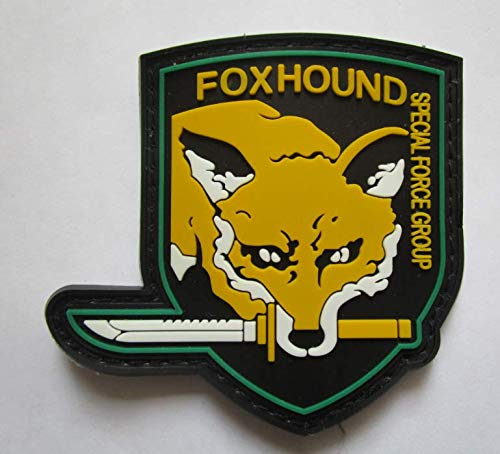 Metal Gear Solid Foxhound Fox Hound Military PVC Patch Rubber Badges Patch Tactical Stickers for Clothes Back with Hook (color3)]()