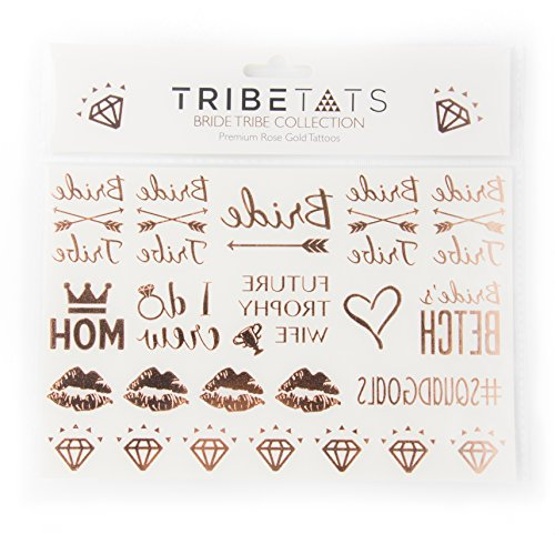 Bride Tribe Bachelorette Party & Wedding Temporary Tattoos -- Rose Gold Metallic Flash Tattoos by TribeTats | Designs Include: Bride Tribe, Future Trophy Wife, I Do Crew, Squad Goals