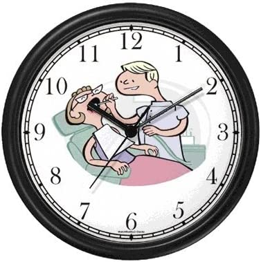 Dentist Cartoon Wall Clock by WatchBuddy Timepieces Hunter Green Frame