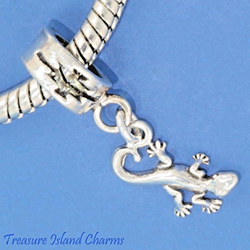 Gecko Lizard .925 Sterling Silver European Euro Dangle Bead Charm New Ideal Gifts, Pendant, Charms, DIY Crafting, Gift Set from Heart by Wholesale Charms