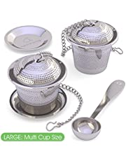 Apace Loose Leaf Tea Infuser (Set of 2) with Tea Scoop and Drip Tray - Ultra Fine Stainless Steel Strainer & Steeper for a Superior Brewing Experience …