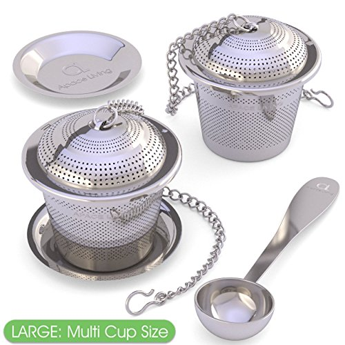 Large Tea Infuser (Set of 2) with Tea Scoop and Drip Trays - Multi Cup Size Stainless Steel Loose Leaf Tea Strainer and Steeper for a Superior Brewing Experience