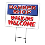 BARBER SHOP WALK-INS WELCOME 18''x24'' Yard Sign & Stake outdoor plastic coroplast window