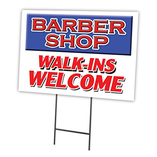 BARBER SHOP WALK-INS WELCOME 12''x16'' Yard Sign & Stake outdoor plastic coroplast window