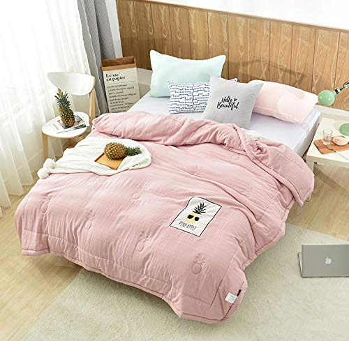 200230cm Pink 200230cm Pink Washed cotton summer cool blanket bamboo fiber air conditioning blanket pineapple embroidered blanket , pink , 200  230cm