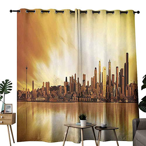 (Apartment Decor Collection Exclusive Home Curtains Panoramic Image of The City of Seattle at Sunset Business Corporate Cityscape Image Wedding Party Home Window Decoration W84 xL72 Golden)