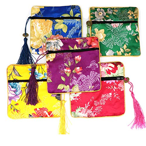 Outman 5 Pcs Chinese Silk Brocade Embroidered Jewelry Pouch Bag Coin Purses Gift Bag Zipper Pocket (Color 1)