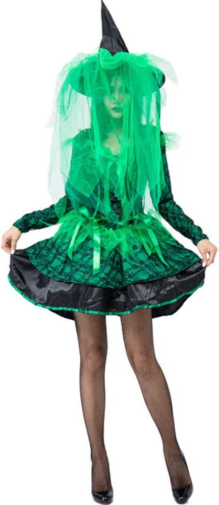 ALX-dress Falda De Elfo Verde Disfraz De Bruja De Halloween para ...