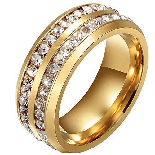 18k Band Ring Gold Wedding (Aiyo Nice Titanium Stainless Steel Wedding Bands Classic Plated 18K Gold Double Row CZ Crystal Promise Anniversary Rings High Polished Finish Comfort for Mens Womens (Gold, 5))