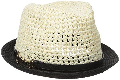 Genie by Eugenia Kim Women's Edie Crochet Straw Colorblock Fedora, Ivory/Black, One Size