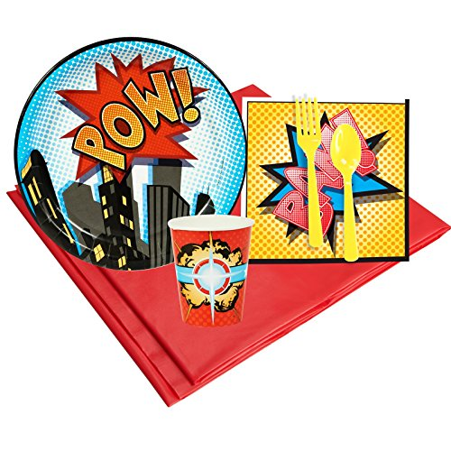Hero Villain Party Costumes (Superhero Comics Party Supplies - Party Pack for 8 Guests)