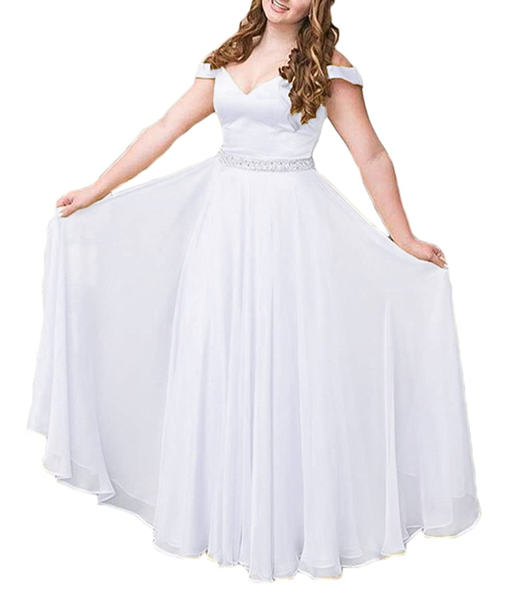 White alilith.Z Sexy Off The Shoulder A Line Princess Prom Dresses Beaded Long Formal Evening Dresses Party Gowns for Women