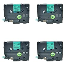 NineLeaf 4 Pack Standard Adhensive Labeller Replacement For Brother P-Touch Laminated Tze741 TZ741 TZ-741 Label Tape Cartridge 18mm (TZe-741 Black on Green)