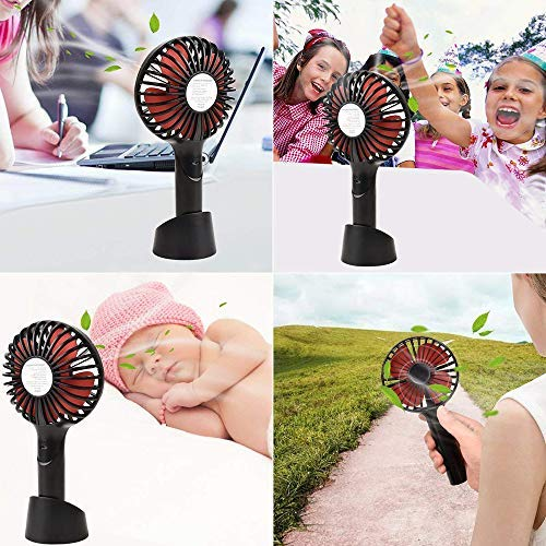 YIHUNION Mini Handheld Fan Portable 2500Mah Battery 4 Modes for Home Office Travel Outdoor Blue Hand Held Personal Fan Rechargeable Battery Operated Powered Cooling Desktop Electric Fan with Base 1