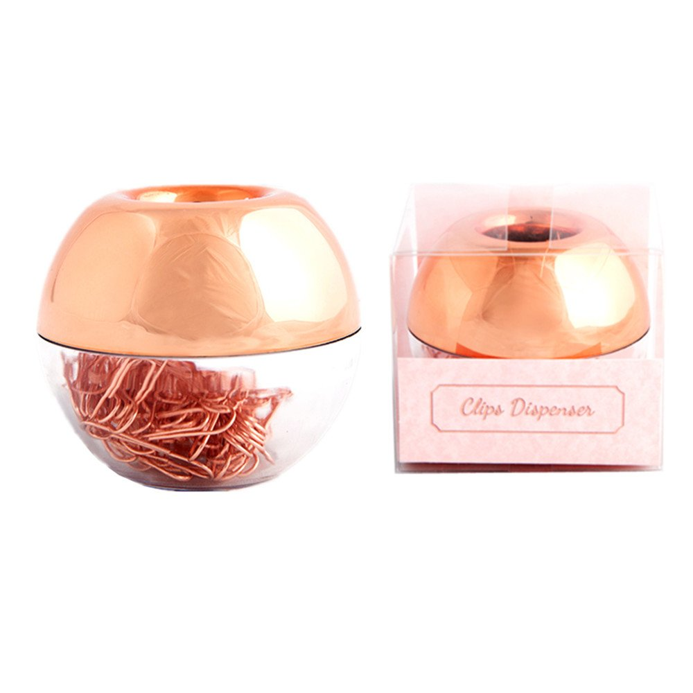 METAN 100pcs Rose Gold Paper Clips 28mm in Magnetic Lid Acrylic Paper Clip Holder for Office Supplies Desk Organizer